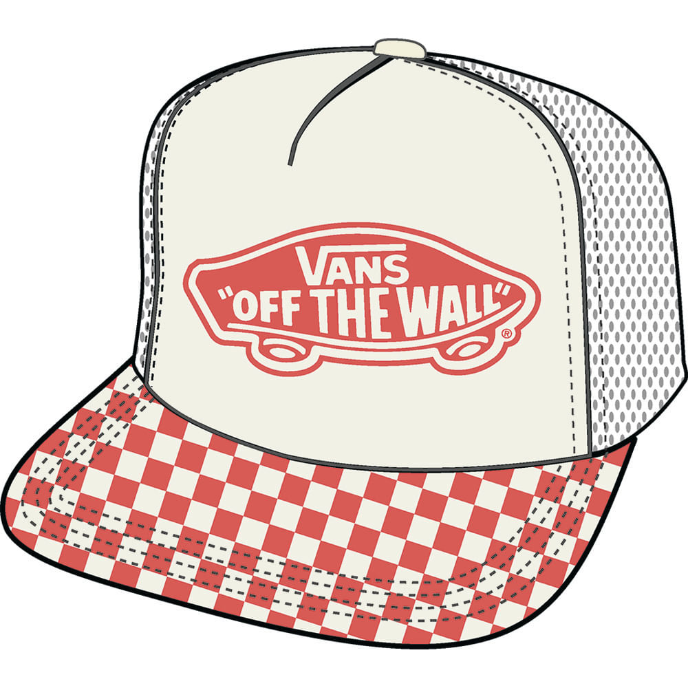 Beach-Girl-Trucker-Hat---Color--Spiced-Coral-Checkerboard---Talla--OS