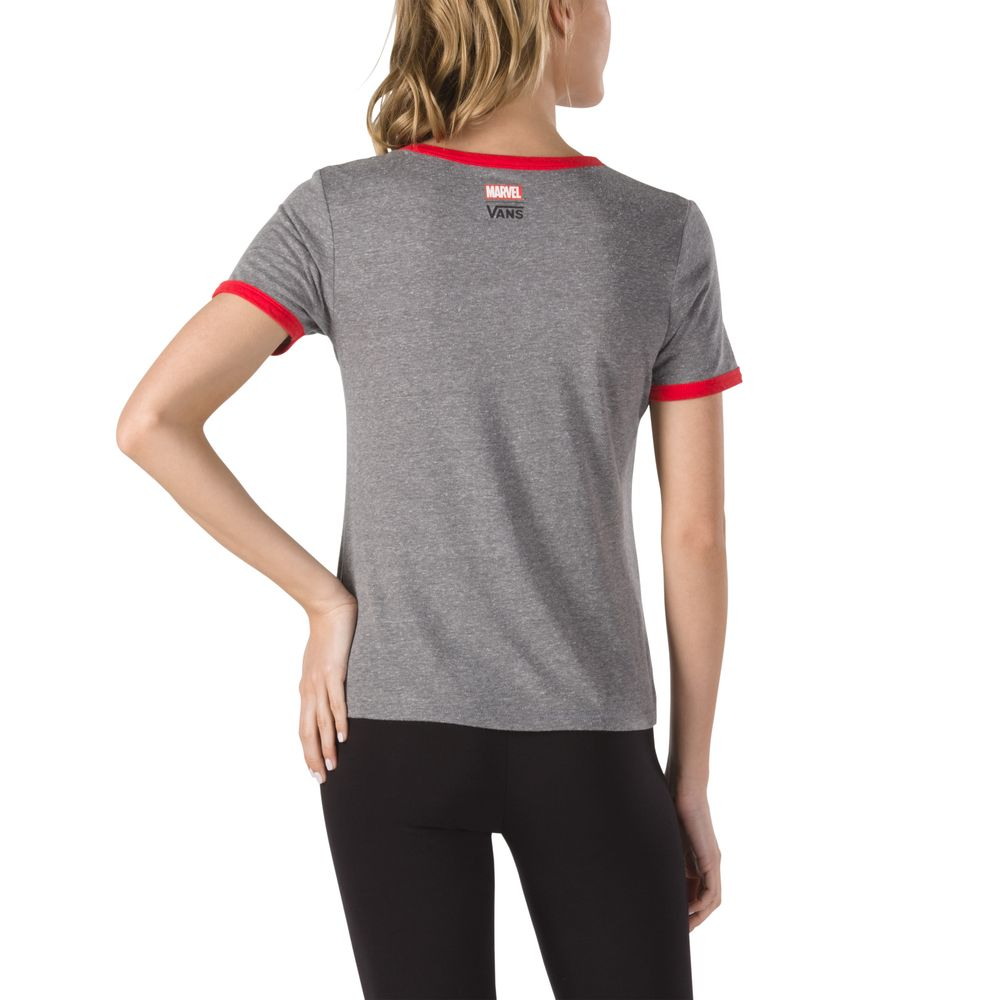Captain-Marvel-Ringer-Tee---Color--GREY-HEATHER-RACING-RED---Talla---S