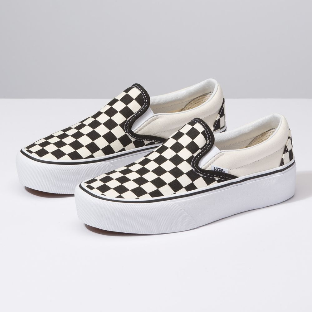 Classic-Slip-On-Platform----BLACK-AND-WHITE-CHECKER-WHITE--7.5M