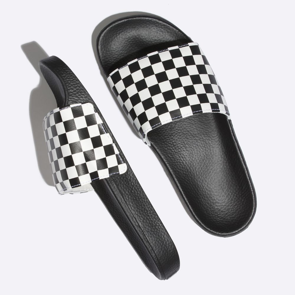 Slide-On----Checkerboard-White--7M