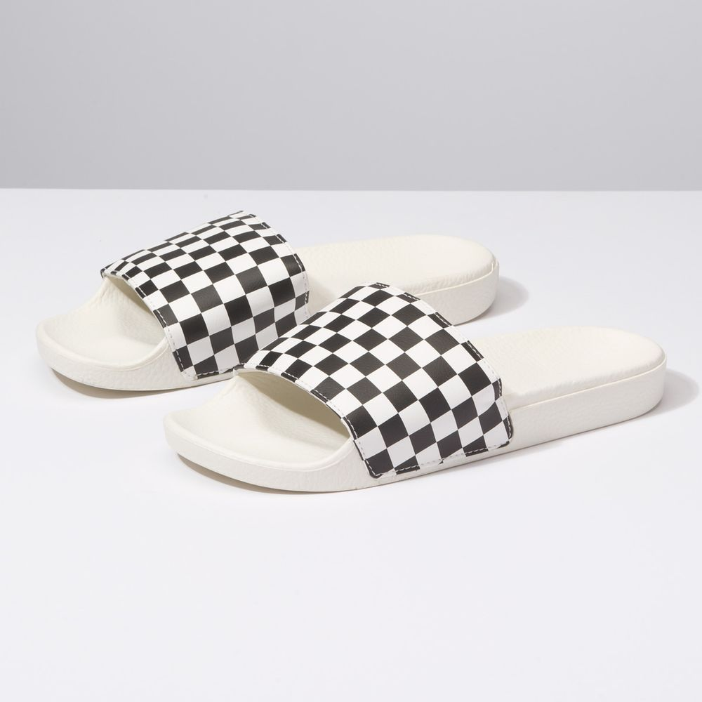 Slide-On----Checkerboard-White-Black--10M