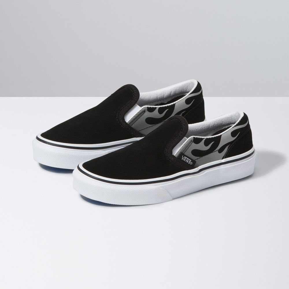 CLASSIC-SLIP-ON-SUEDE-FLAME-BLACK-TRUE